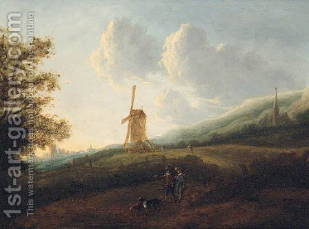 A landscape with travellers by a windmill, a town in the distance by (after) Jan Sonje - Reproduction Oil Painting