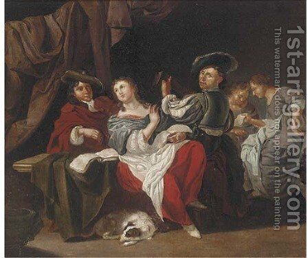 Elegant company making music in an interior by (after) Jan Van Bijlert - Reproduction Oil Painting