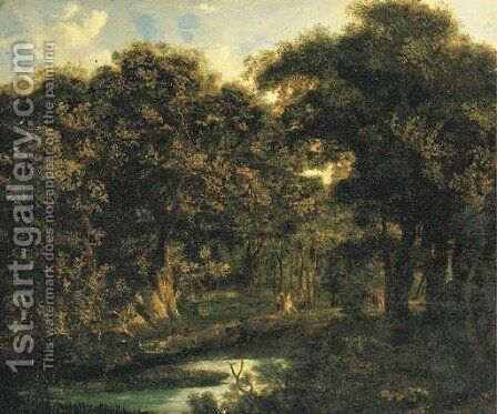 A wooded landscape with a hunting party by (after) Jan Van Der Heyden - Reproduction Oil Painting