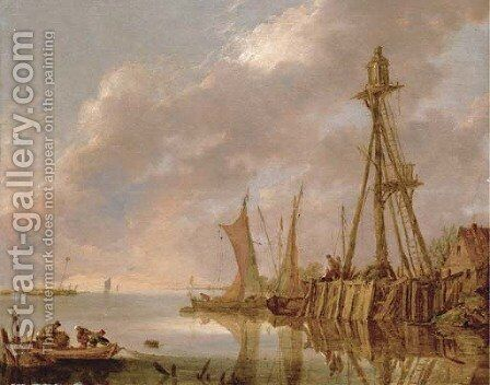 A coastal landscape with fishermen pulling in their catch and boats by a beacon by (after) Jan Van Goyen - Reproduction Oil Painting