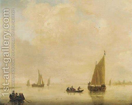 A river landscape with fishing boats and other shipping by (after) Jan Van Goyen - Reproduction Oil Painting