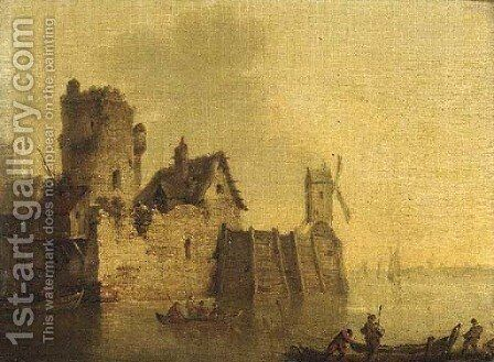A walled town with fishermen in the foreground by (after) Jan Van Goyen - Reproduction Oil Painting