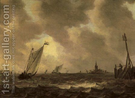 Sailing vessels in choppy waters, a figure on a quay nearby, a church tower in the distance by (after) Jan Van Goyen - Reproduction Oil Painting