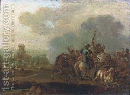 A cavalry skirmish, a fortress beyond by (after) Jan Von Huchtenburgh - Reproduction Oil Painting