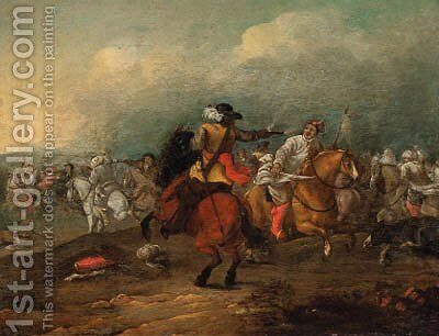A cavalry engagement by (after) Jan Van Huchtenburgh - Reproduction Oil Painting