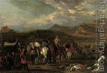 Monks tending wounded soldiers on a battlefield by (after) Jan Van Huchtenburgh - Reproduction Oil Painting
