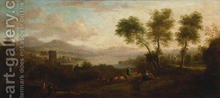 An extensive landscape with shepherds by (after) Huysum, Jan van - Reproduction Oil Painting