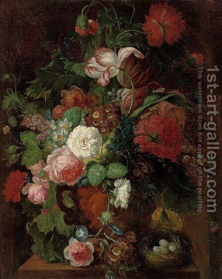 Roses, carnations, tulips, morning glory, narcissi, and other flowers in a vase by a nest of eggs on a plinth by (after) Huysum, Jan van - Reproduction Oil Painting