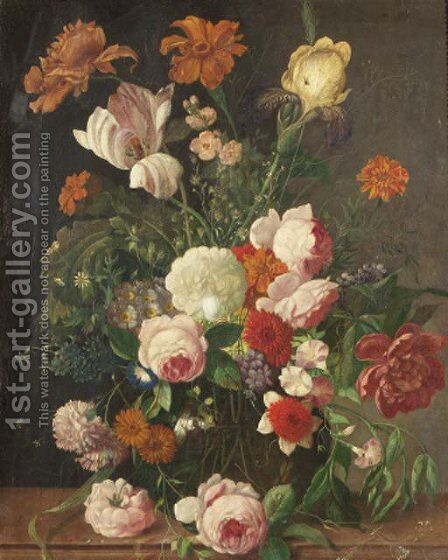 Roses, peonies, a tulip and other flowers in a glass vase on a stone ledge by (after) Huysum, Jan van - Reproduction Oil Painting