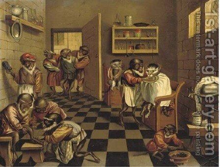 A Monkey's surgery by (after) Jan Van Kessel II - Reproduction Oil Painting