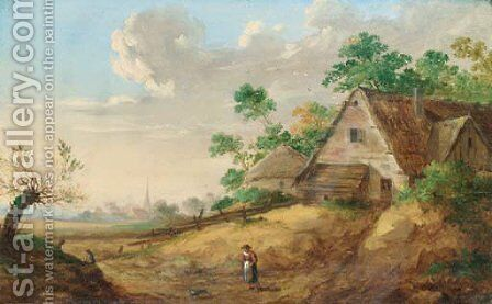 A peasant woman on a path, a farm and a village in the distance by (after) Jan Van Os - Reproduction Oil Painting