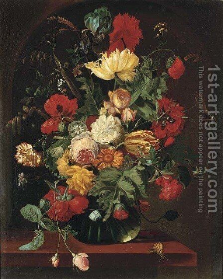 Poppies, tulips, marigolds, corns of wheat, roses and other flowers in a glass vase on a ledge by (after)Jan Van Os - Reproduction Oil Painting