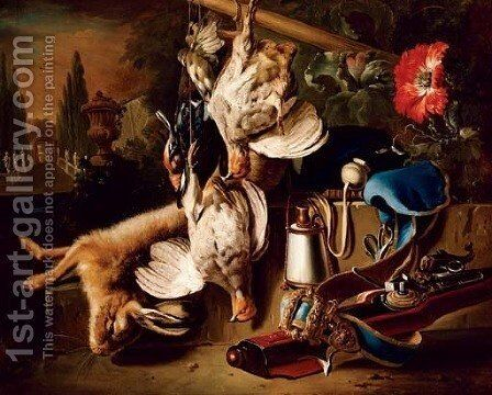 Game and a hare with a rifle by (after) Jan Weenix - Reproduction Oil Painting