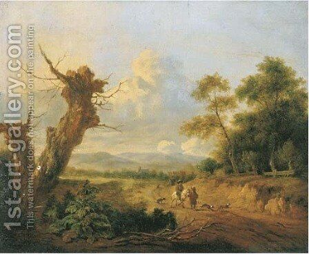 A dune landscape with sportsmen on a path by a wood by (after) Jan Wijnants - Reproduction Oil Painting