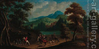 A hunting party in an extensive river landscape by (after) Jan Wyck - Reproduction Oil Painting