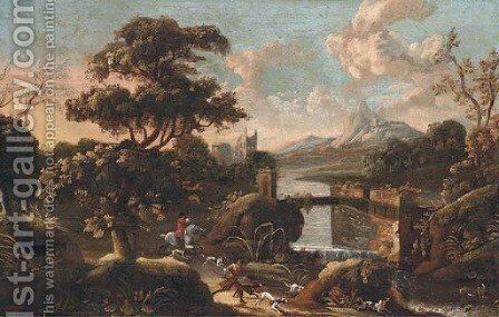 An extensive Italianate landscape with a stag hunt in the foreground by (after) Jan Wyck - Reproduction Oil Painting