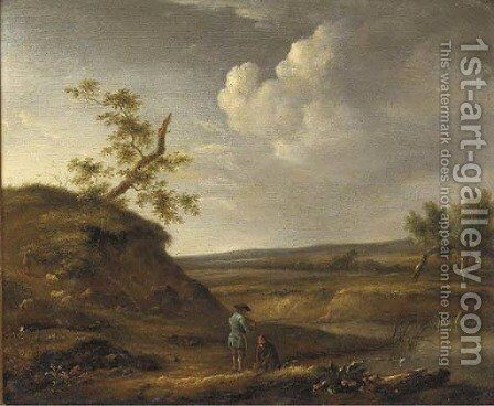 A river landscape with fishermen on a track by (after) Jan Wynants - Reproduction Oil Painting
