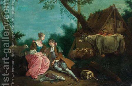 A shepherd courting a shepherdess by a farmhouse in a wooded landscape by (after) Jean-Baptiste Joseph Pater - Reproduction Oil Painting