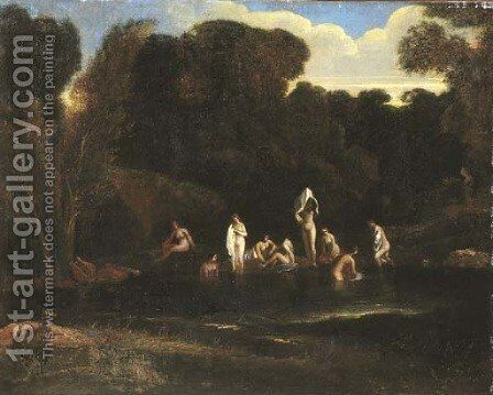 A wooded river landscape with Diana and her nymphs bathing by (after) Jean-Francois Millet - Reproduction Oil Painting