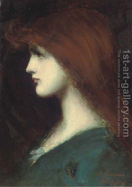 Portrait Of A Lady In Profile by (after) Jean-Jacques Henner - Reproduction Oil Painting