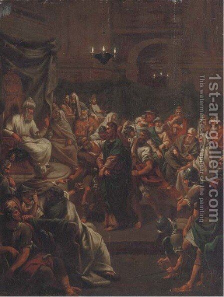 Christ before Pontius Pilate by (after) Jean-Baptiste Jouvenet - Reproduction Oil Painting