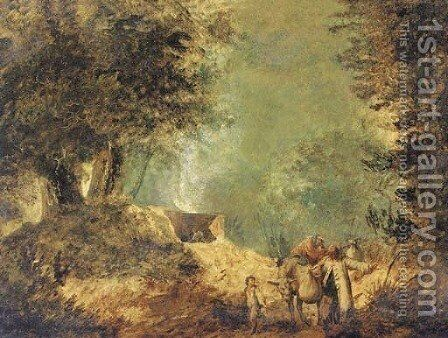 A wooded landscape with travellers on a track by (after) Jean-Baptiste Pillement - Reproduction Oil Painting