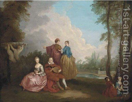 A Fete Champetre by (after) Watteau, Jean Antoine - Reproduction Oil Painting