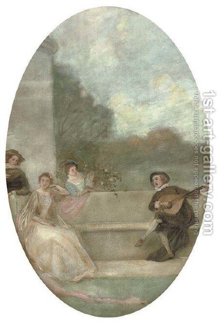 A fte champtre by (after) Watteau, Jean Antoine - Reproduction Oil Painting