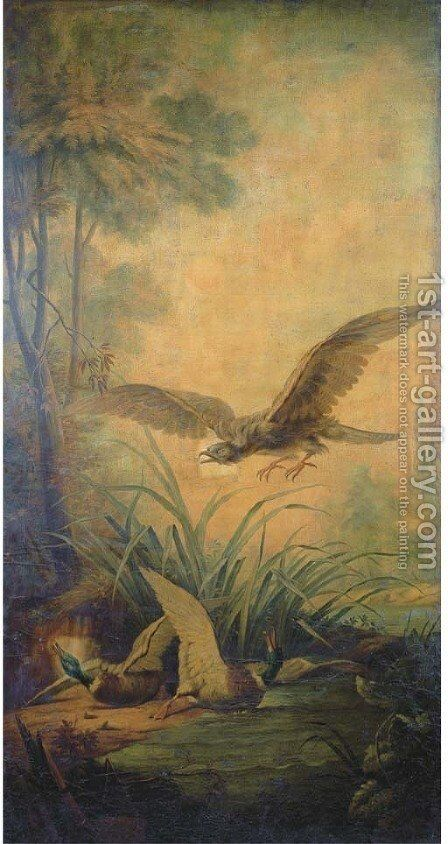 A sea eagle and two wild ducks in a landscape by (after) Jean-Baptiste Oudry - Reproduction Oil Painting