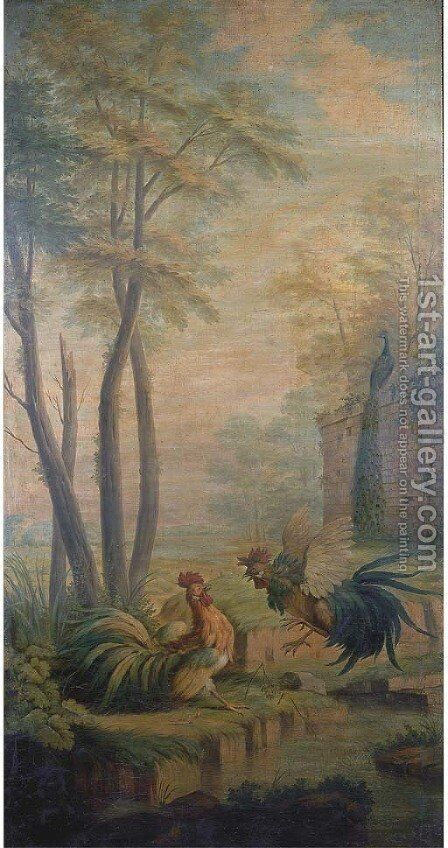 Two fighting cocks by a pond in a park landscape by (after) Jean-Baptiste Oudry - Reproduction Oil Painting