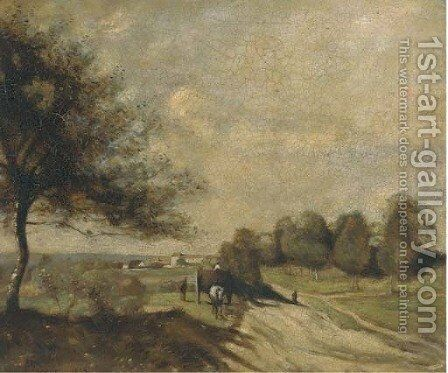 A horse and cart on a country road by (after) Jean-Baptiste-Camille Corot - Reproduction Oil Painting
