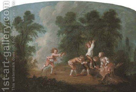 A wooded landscape with children playing leap-frog by (after) Jean-Baptiste Huet I - Reproduction Oil Painting