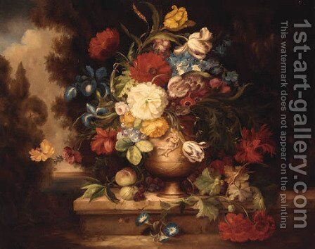 A Vase Of Mixed Flowers On A Ledge by (after) Of Jean-Baptiste Monnoyer - Reproduction Oil Painting