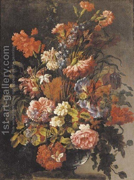 Carnations, peonies, morning glory and other flowers in a glass vase on a ledge by (after) Jean-Baptiste Monnoyer - Reproduction Oil Painting