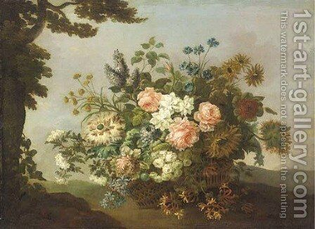 Roses, carnations, sunflowers, honeysuckle and other flowers in a basket by a tree in a hilly landscape by (after) Jean-Baptiste Monnoyer - Reproduction Oil Painting