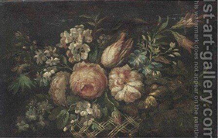 Roses, tulips, morning glory and other flowers in a basket by (after) Jean-Baptiste Monnoyer - Reproduction Oil Painting