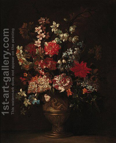 Still life of roses, carnations, narcisi and other flowers in a sculpted vase on a ledge by (after) Jean-Baptiste Monnoyer - Reproduction Oil Painting