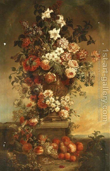 Tulips, lilies, carnations, roses and other flowers in an urn on a stone ledge, with fruit in a basket below by (after) Jean-Baptiste Monnoyer - Reproduction Oil Painting