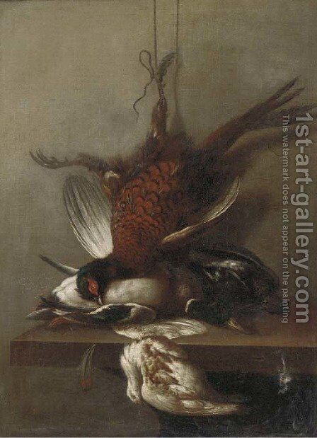 A pheasant, a duck and other dead game on a ledge by (after) Jean-Baptiste Oudry - Reproduction Oil Painting