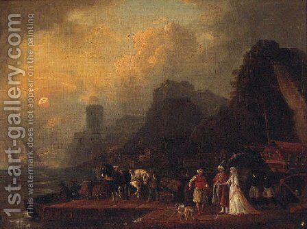 Figures in Oriental costume on a quay at dusk by (after) Jean Baptiste Vanmour - Reproduction Oil Painting