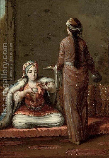 A Turkish lady seated on a cushion, being served by a maid servant by (after) Jean Baptiste Vanmour - Reproduction Oil Painting