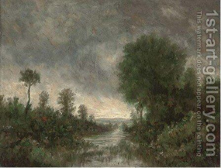 A river at dusk by (after) Jean-Baptiste-Camille Corot - Reproduction Oil Painting