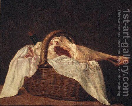 A leg of lamb and a wine bottle in a basket on a ledge by (after)  Jean-Baptiste-Simeon Chardin - Reproduction Oil Painting