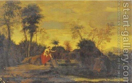 A classical landscape with a woman and two children by (after) Jean-Francois Millet - Reproduction Oil Painting