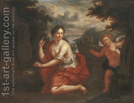 Venus and Cupid in a wooded landscape by (after) Jean Francois De Troy - Reproduction Oil Painting