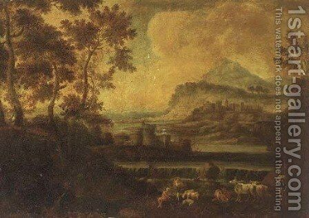 A river landscape, with a shepherd, two towns beyond by (after) Jean-Francois Millet - Reproduction Oil Painting