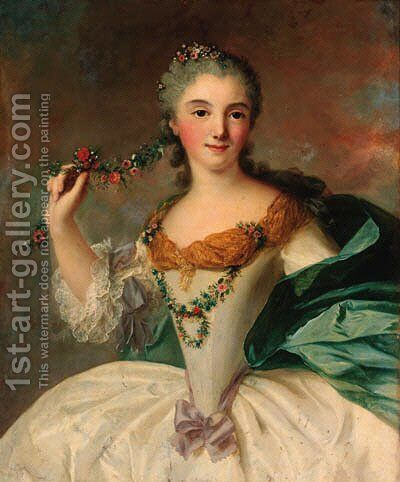 Portrait of a young lady by (after) Jean-Marc Nattier - Reproduction Oil Painting