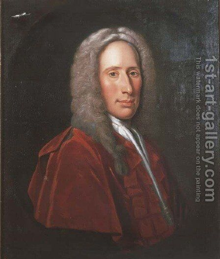 Portrait of a gentleman, believed to be Duncan Forbes of Culloden by (after) Jeremiah Davidson - Reproduction Oil Painting