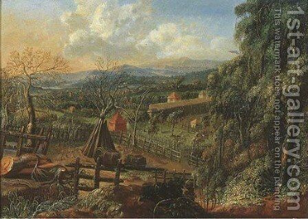 A wooded landscape with stacks of faggots in a meadow, a village beyond by (after) Johann Christian Vollerdt Or Vollaert - Reproduction Oil Painting