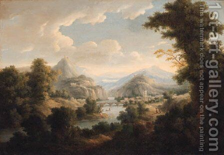 An extensive river landscape with a town by a bridge by (after) Johann Christian Vollerdt Or Vollaert - Reproduction Oil Painting